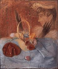 Leonor Fini (Buenos Aires 1908 - Paris 1996) Attributed to Leonor FiniDonna con cappello (Lady wearing hat), oil on board