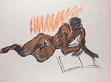 Rainer Fetting (Wilhelmshaven 1949) Figura sdraiata (Lying figure),1983, mixed media on paper