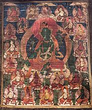 A Thangka depicting Green Tara Tibet, 17th -19th Century