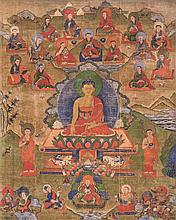 Thangka raffigurante Buddha con Arhat China/Tibet, 18th Century