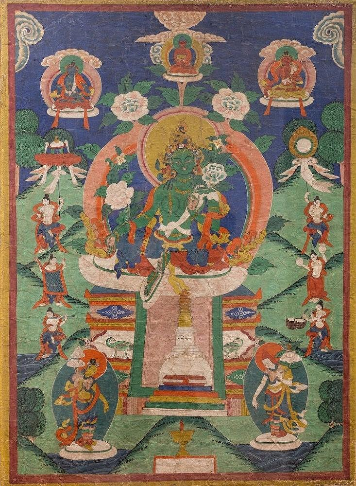 A Thangka depicting GreenTara Mongolia, 19th Century