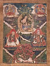 A Thangka depicting six characters Tibet, 18th Century