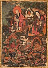 Thangka depicting two Arhat and two Lokapala China/Tibet, 18th Century
