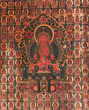 A Thangka depicting Amitayus China/Tibet, 18th Century