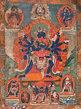 Thangka depicting Cakrasaṁvara Tibet, 18th-19th Century
