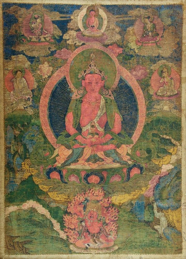 Thangka portraying Buddha Amitayus Tibet, 18th Century