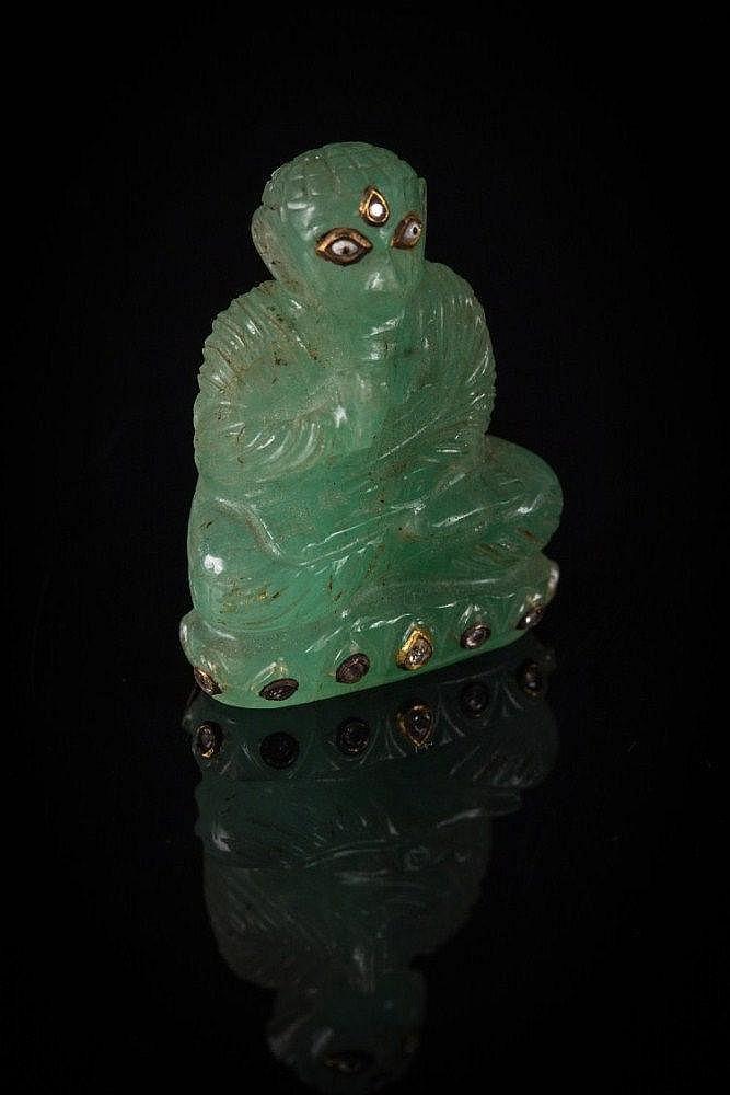 An emerald figure of Buddha India, 19th Century