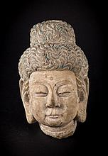A head of a Buddhist deity China, Tang Dynasty (?)