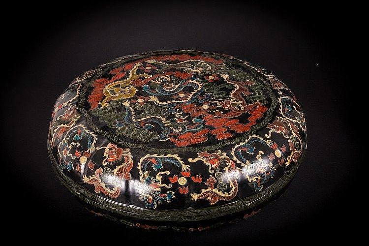 A black lacquer box China, Qing Dynasty, 19th Century