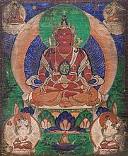 A Thangka depicting Amitayus Mongolia, 19th Century
