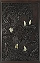 A zitan and jade carved panel China, Qing Dynasty, 18th century