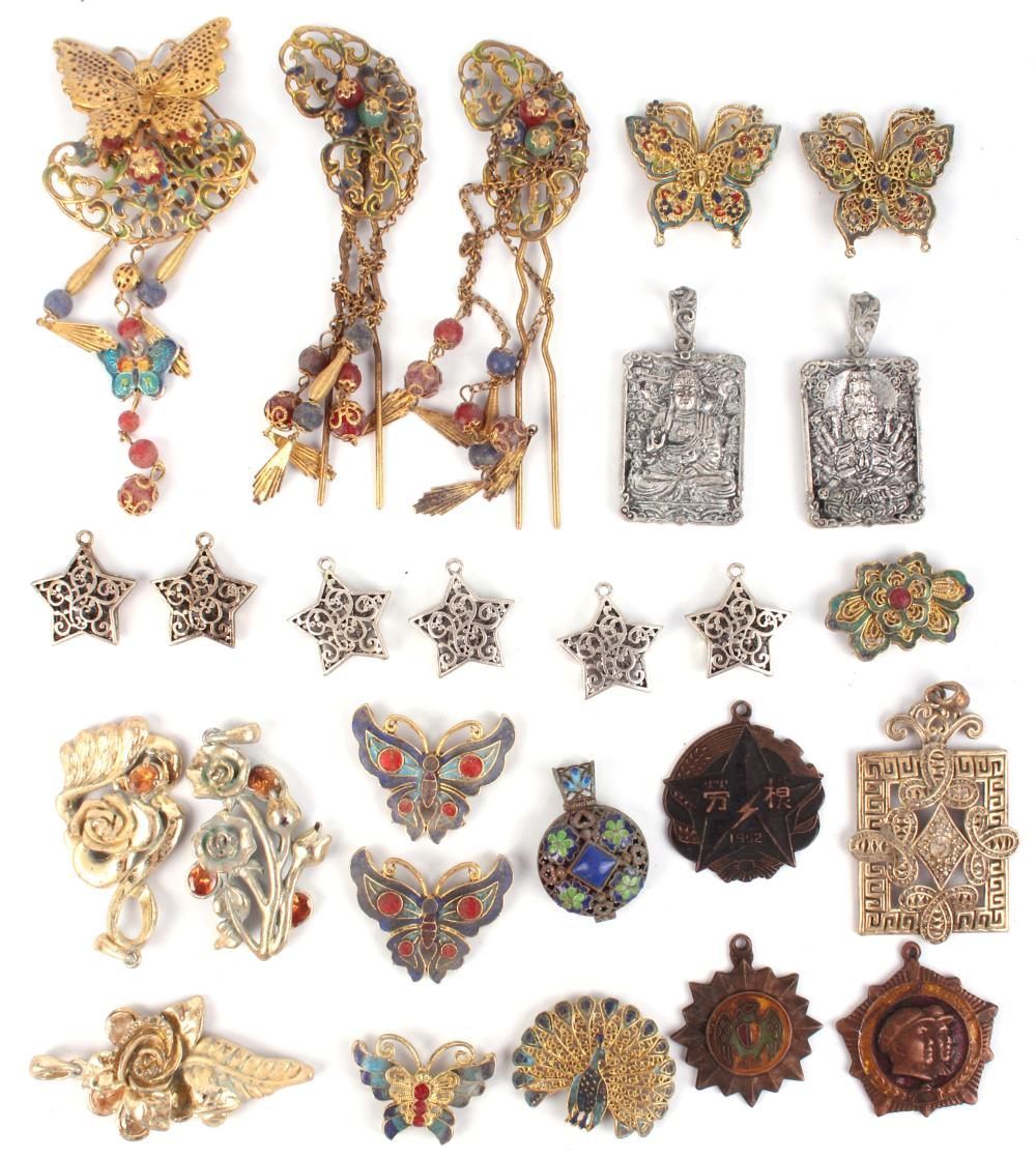 ANTIQUE CHINESE HAIR CLIPS, METALS, PENDANTS- (25)