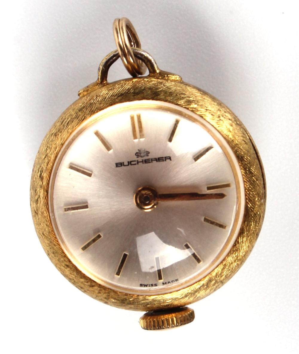 BUCHERER GOLD FILLED SKELETON BACKED PENDANT WATCH