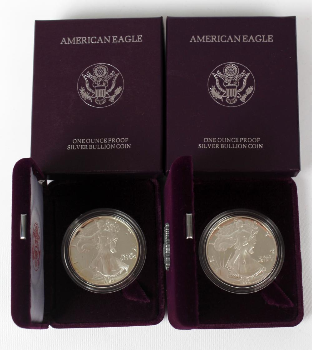 1990 AMERICAN SILVER EAGLE PROOF - LOT OF 2