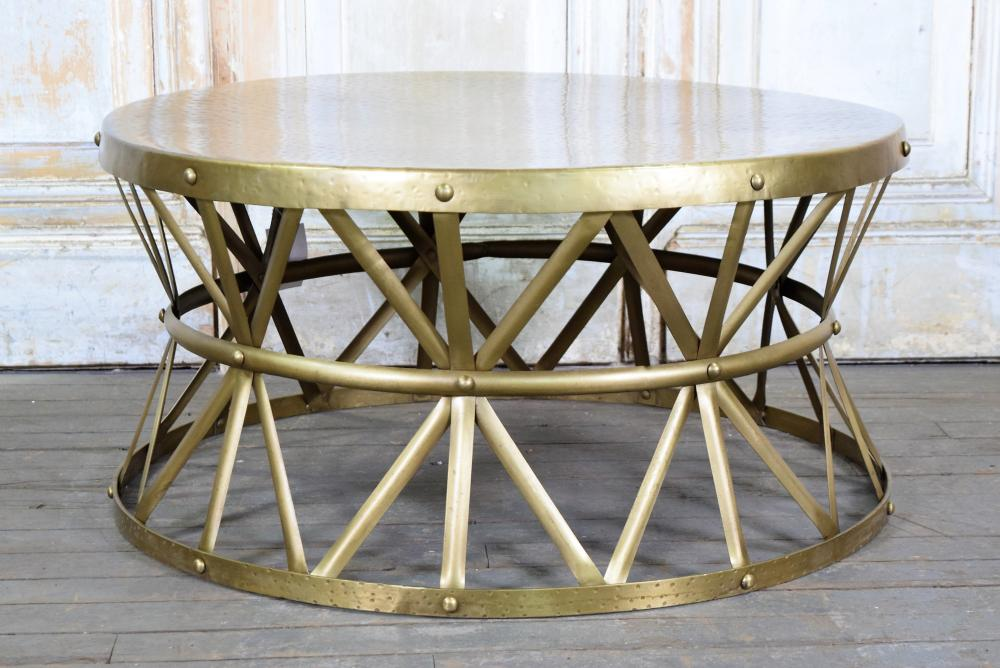 Sold Price Brass Drum Coffee Table January 6 0119 11 00 Am Est