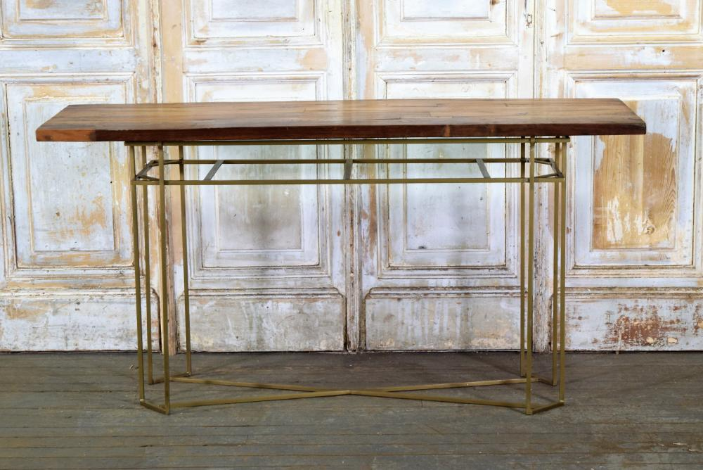 Slat Wood and Brass Table