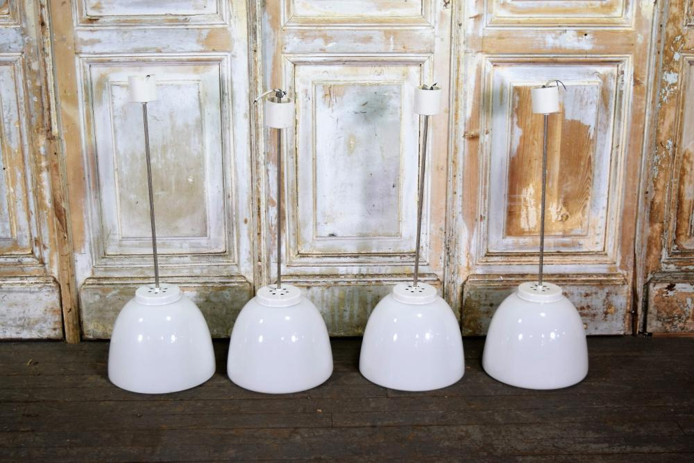 Vintage European Opaline Glass Cafe Lights