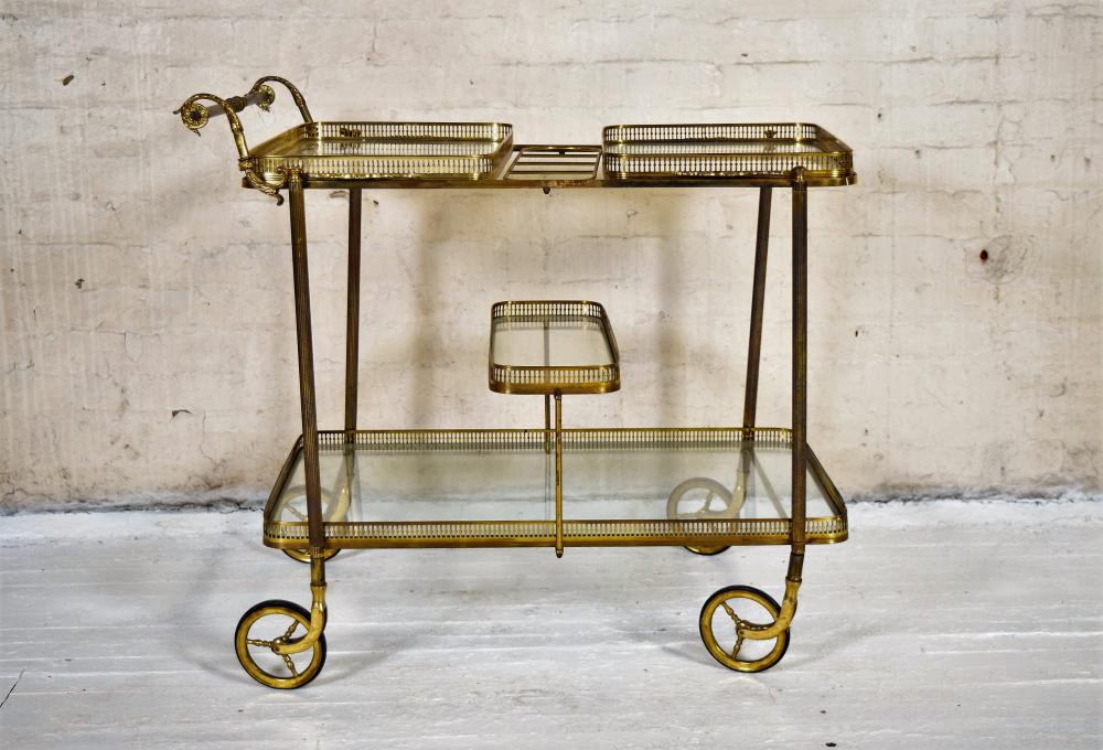 Vintage Continental Brass Bar Cart