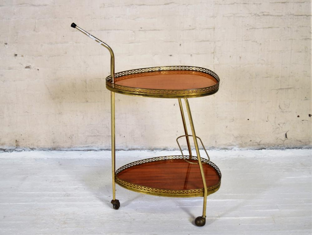 Small Two Tier European Bar Cart
