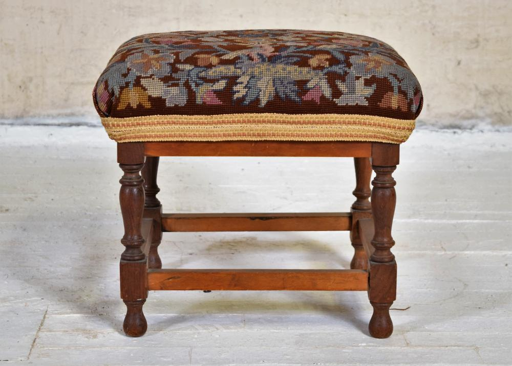 Embroidered Seat Wooden Footstool