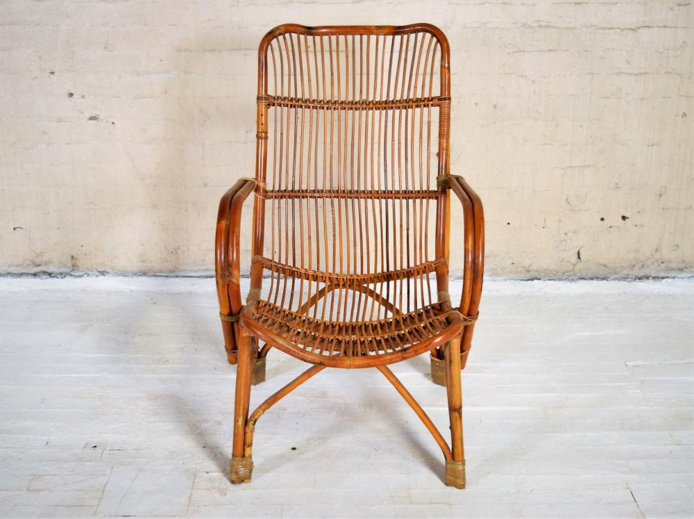 Vintage 20th c. Bamboo Fan Back 'Tropics' Lattice Work Armchair.