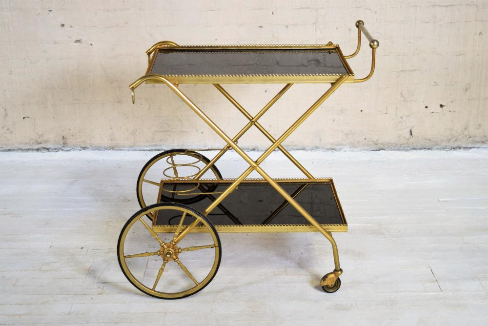 Vintage French Brass and Smoky Glass Cart