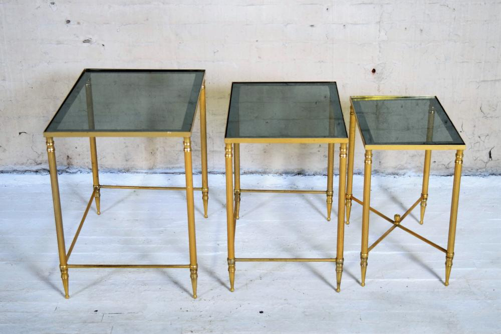 Set of Three French Brass Nesting Tables in the Style of Maison Jansen