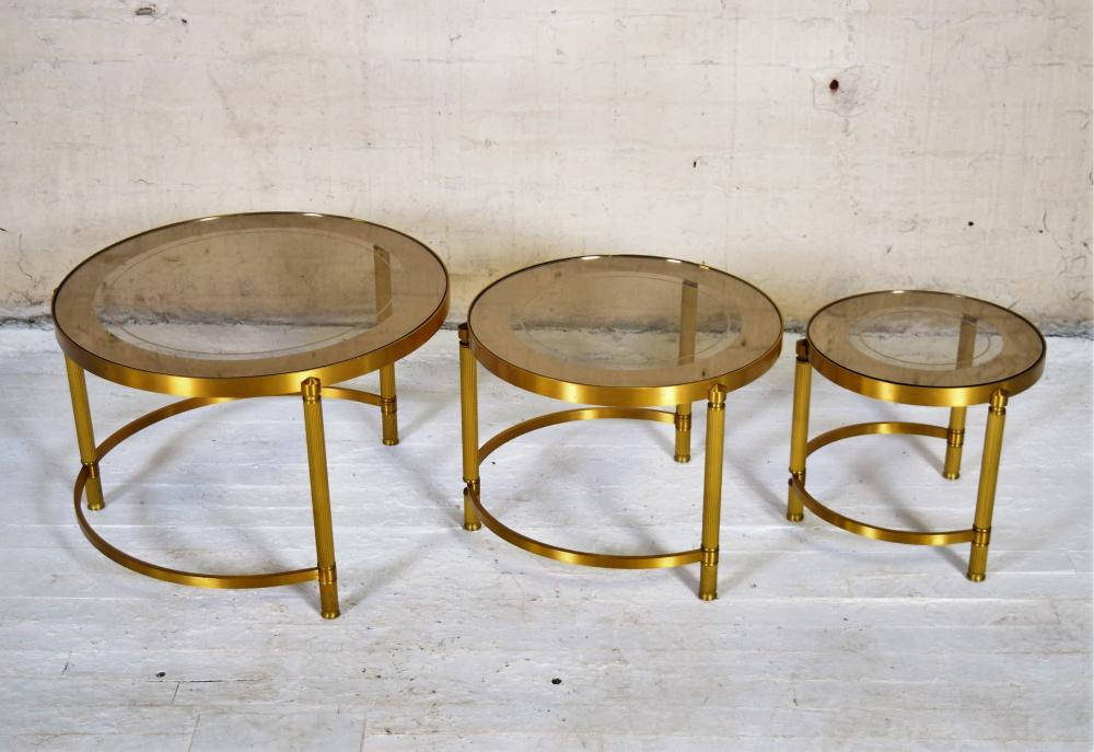 Set of Three Brass Vintage French Nesting Tables