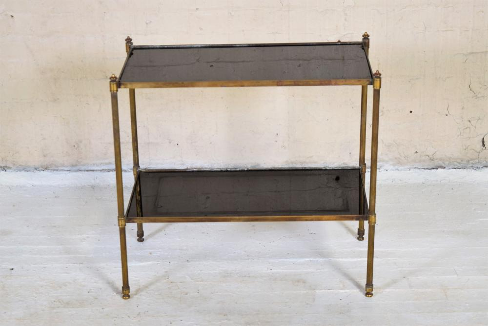 Vintage French Brass and Smoky Glass Shelf