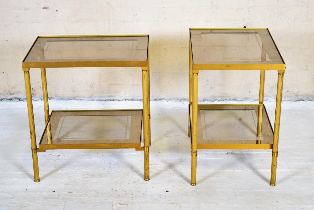 Vintage French Brass and Glass Side Tables