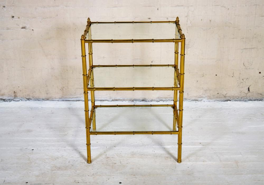 Vintage French Brass and Glass Shelving Unit in style of Maison Jansen