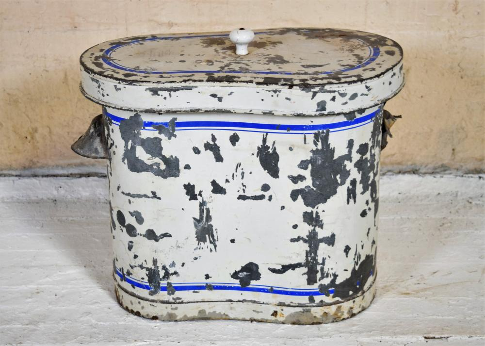 1800's French Porcelain Basin with Lidded Metal Bin