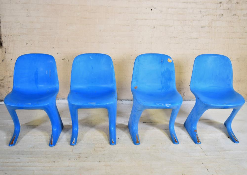 "Set of Four Molded Fiberglass ""Z"" Chairs by Ernst Moeckl"