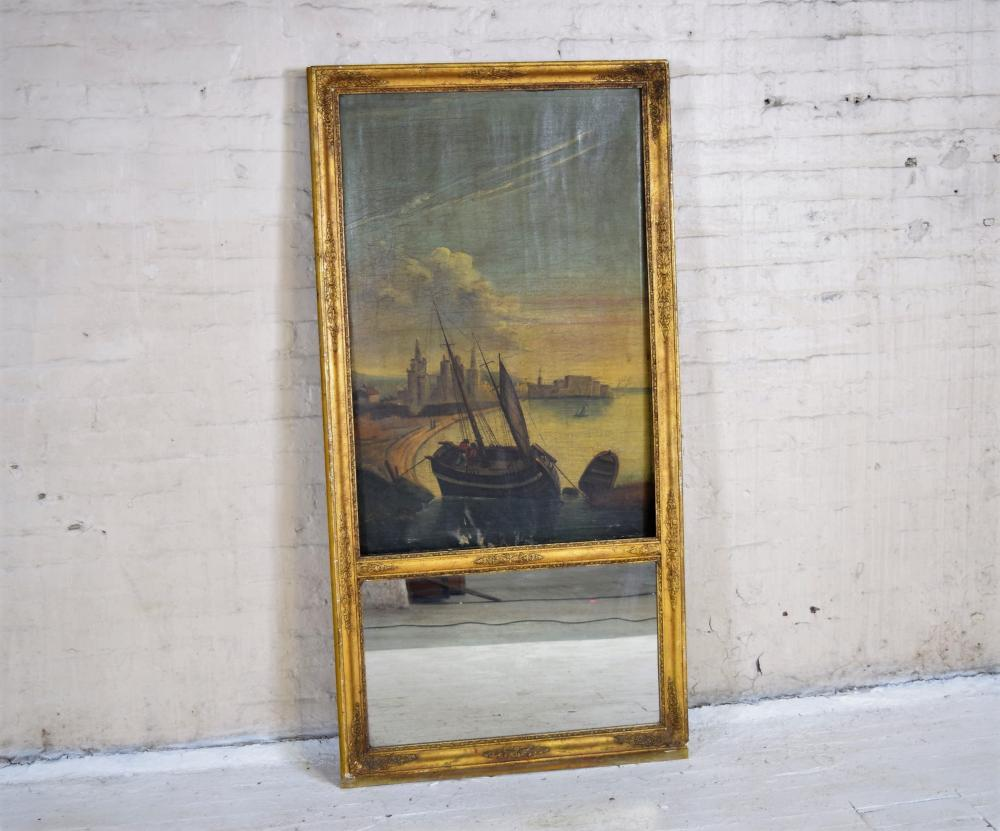 Antique French with Oil on CanvasTrimeuax Mirror