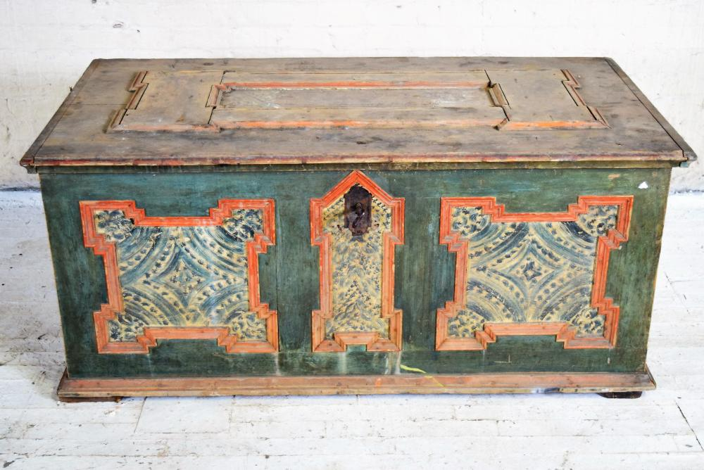 1800's Painted Folk Art Trunk