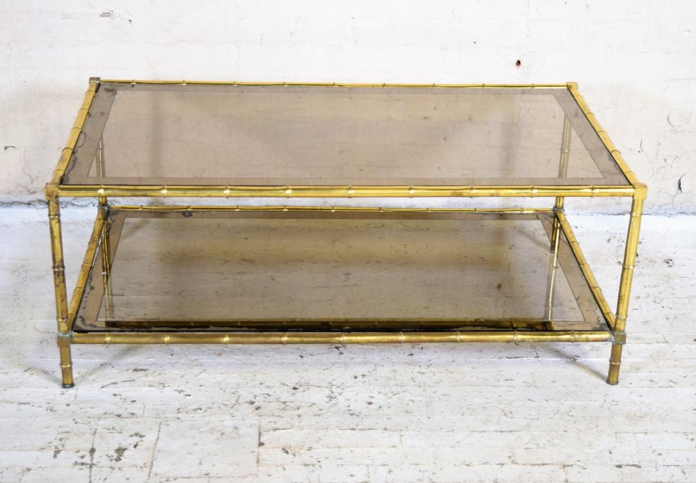 Vintage French Brass Faux Bamboo Coffee Table