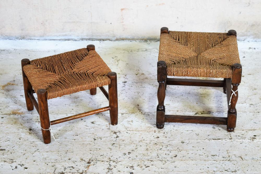 Woven English Oak Seat Stools
