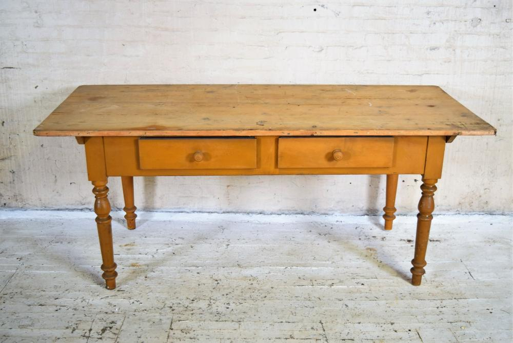 1800's European Farmhouse Table with Two Drawers