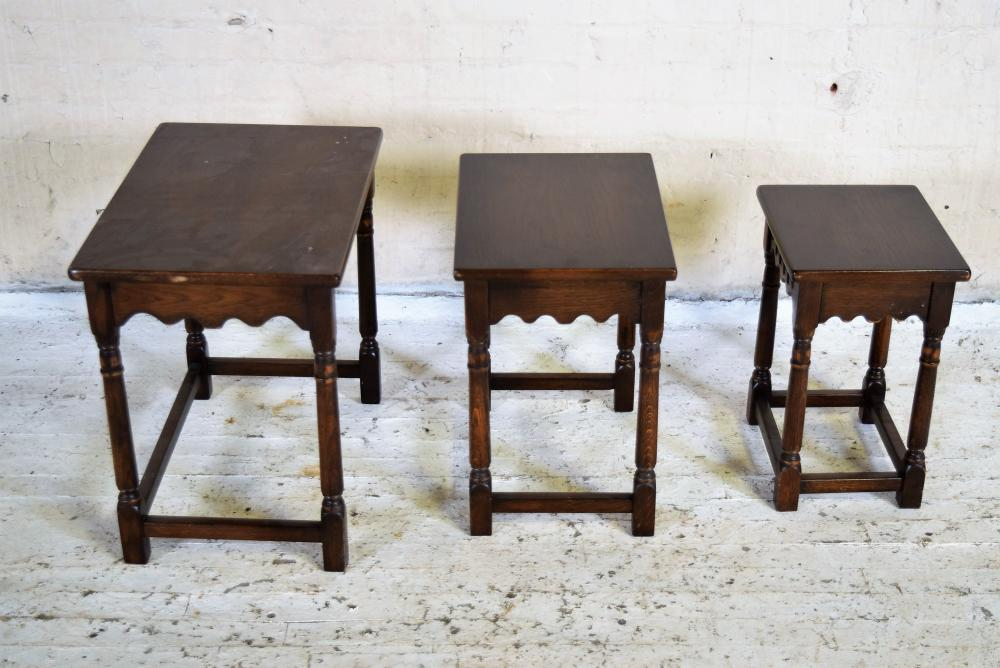 Set of Three English Oak Nesting Tables
