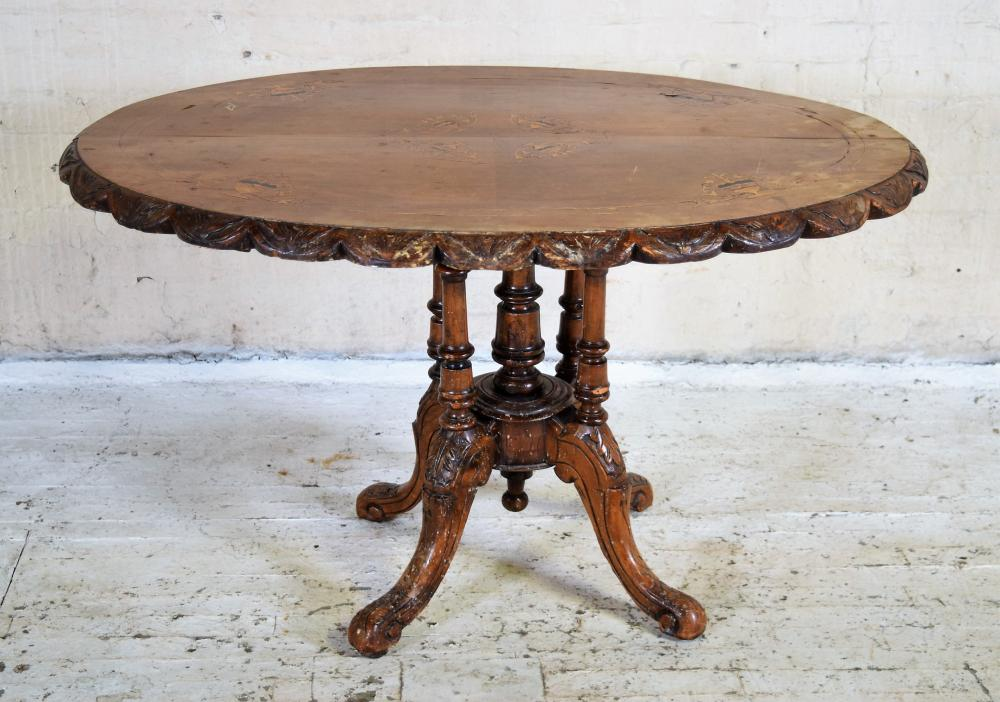English Victorian Marquetry Breakfast Table