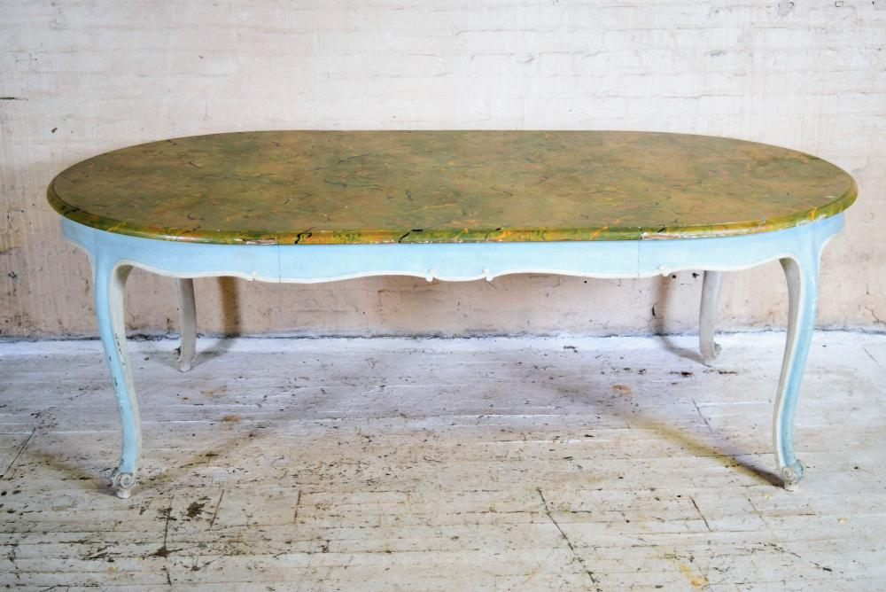 Vintage Italian Painted Dining Table with Faux Marble Top