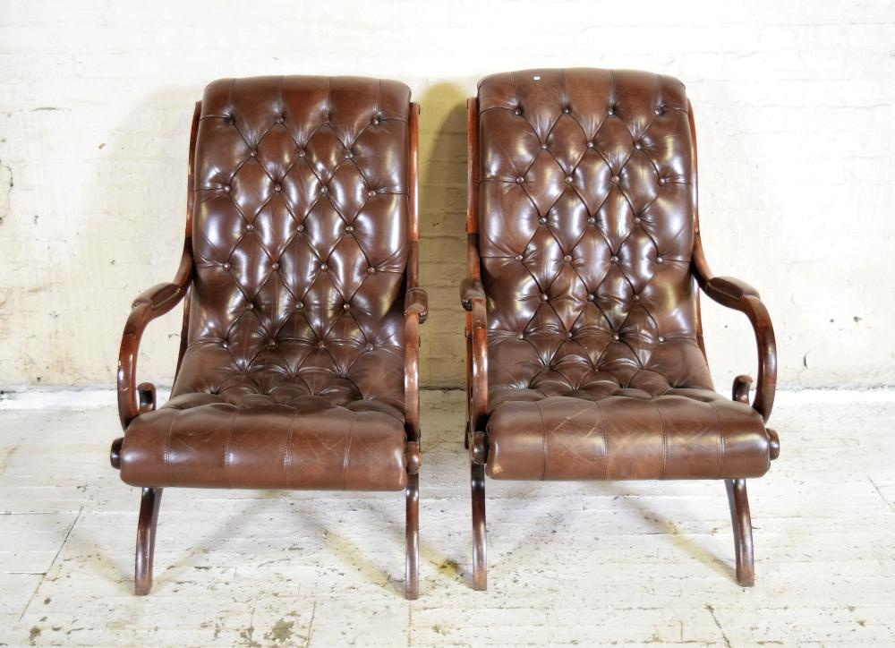 Tufted English Leather Lounge Chair Pair