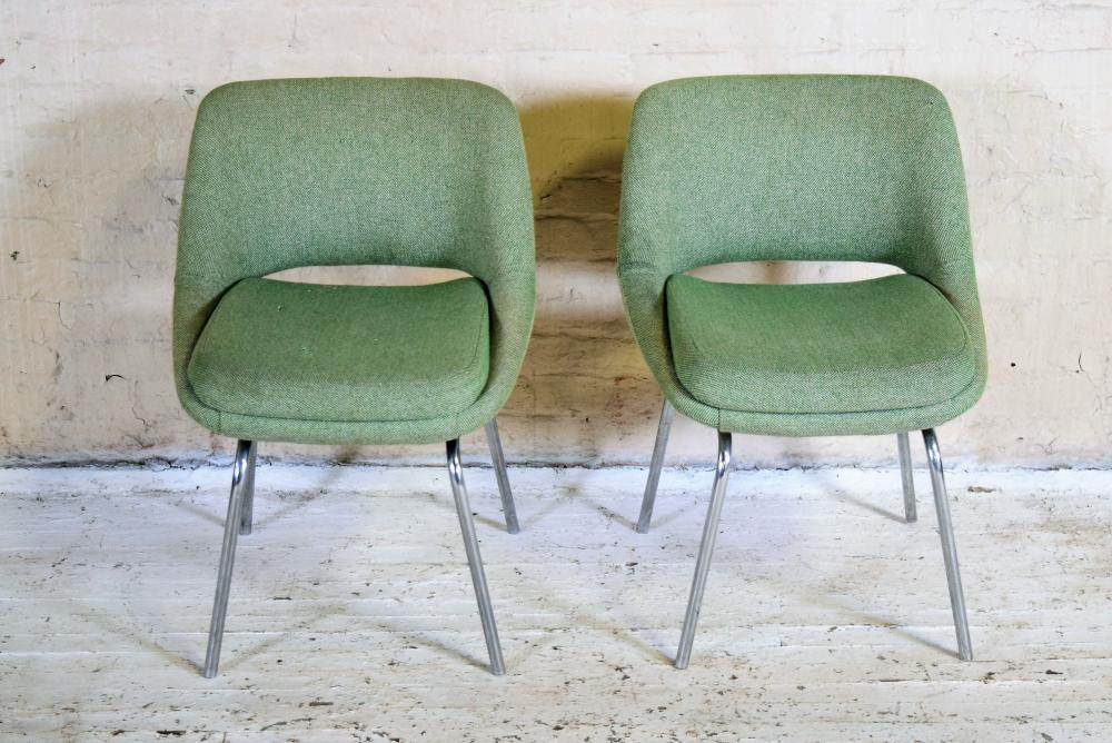 European Mid Century Upholstered Chair Pair