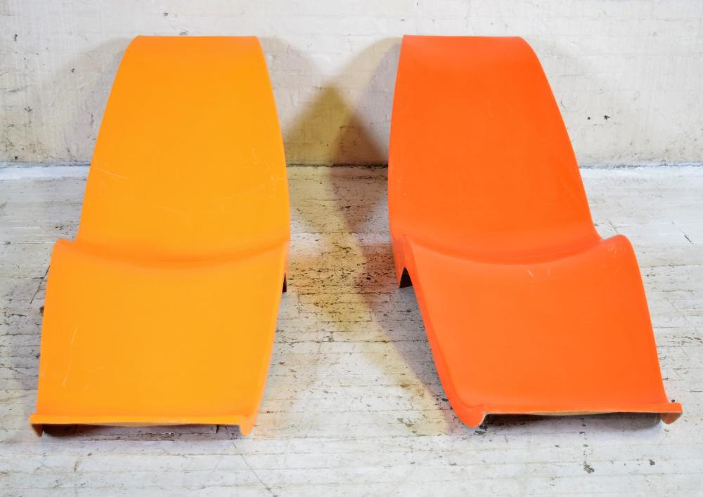 Set of Two Vintage French Midcentury Molded Lounge Chairs in the Style of Charles Zublena
