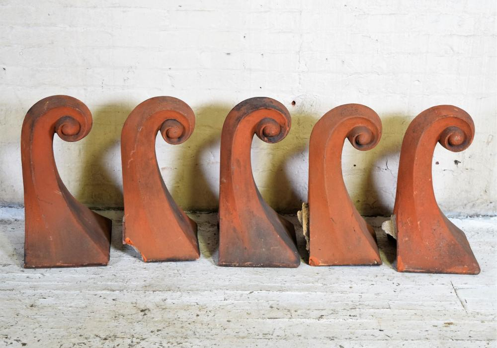 English Terra Cotta Roof Finials of Scrolling Form