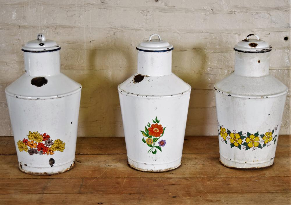 White Enamel Floral Pitchers