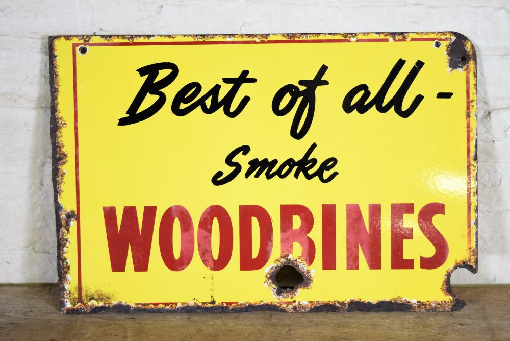 Vintage English Double Sided Woodbine Cigarettes Metal Sign