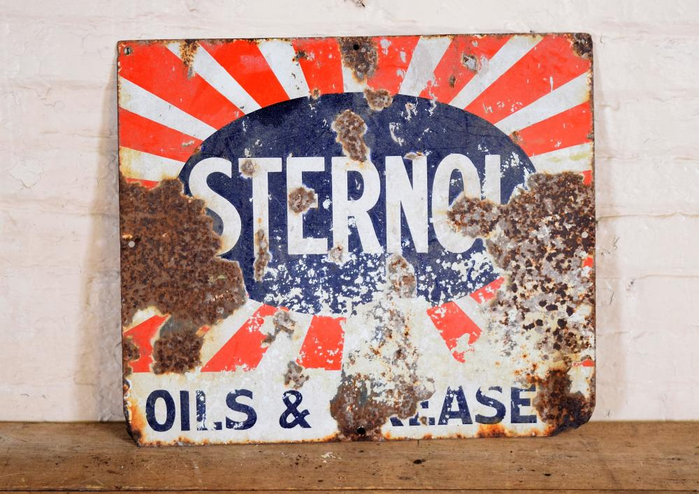 Vintage English Sterno Metal Sign