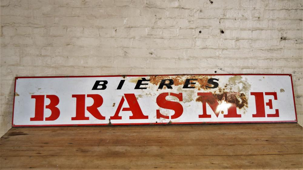 French Enamel Bieres Brasme Beer Sign