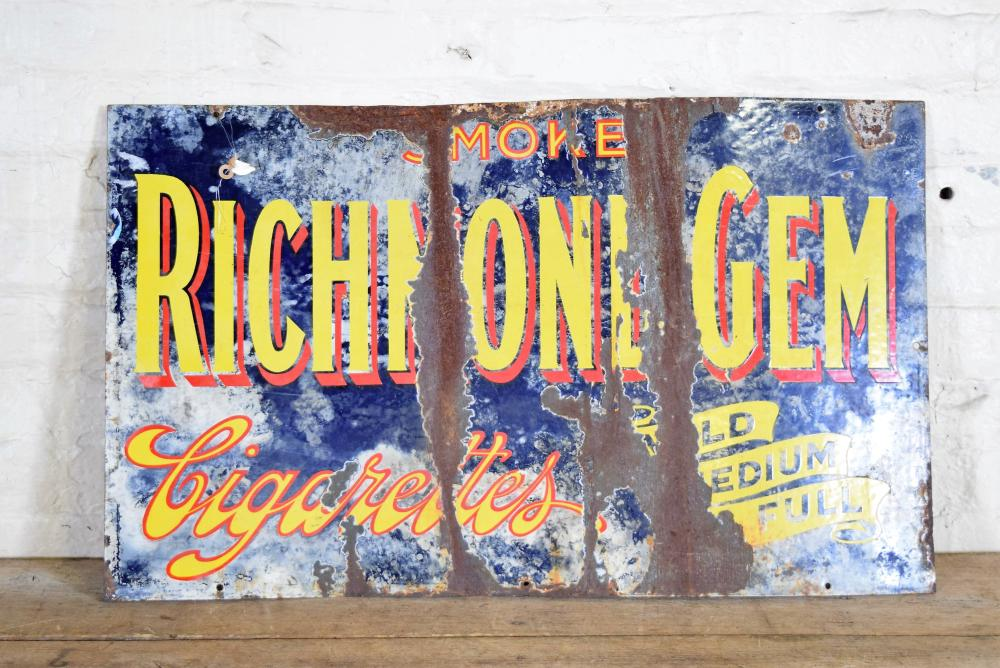 European Richmond Gem Cigarettes Enamel Sign